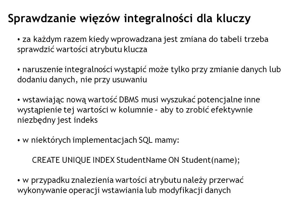 Ustawianie poziomu izolacji w SQL SET TRANSACTION ISOLATION LEVEL SERIALIZABLE;.......