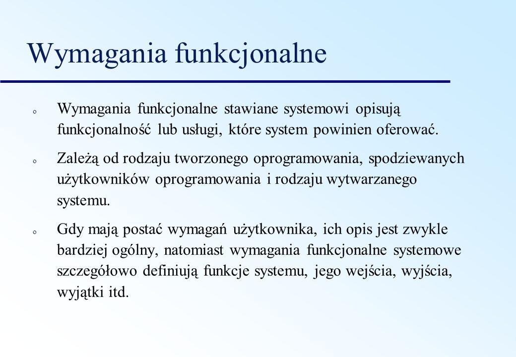 Wymagania funkcjonalne o Wymagania funkcjonalne stawiane systemowi opisują funkcjonalność lub usługi, które system powinien oferować. o Zależą od rodz