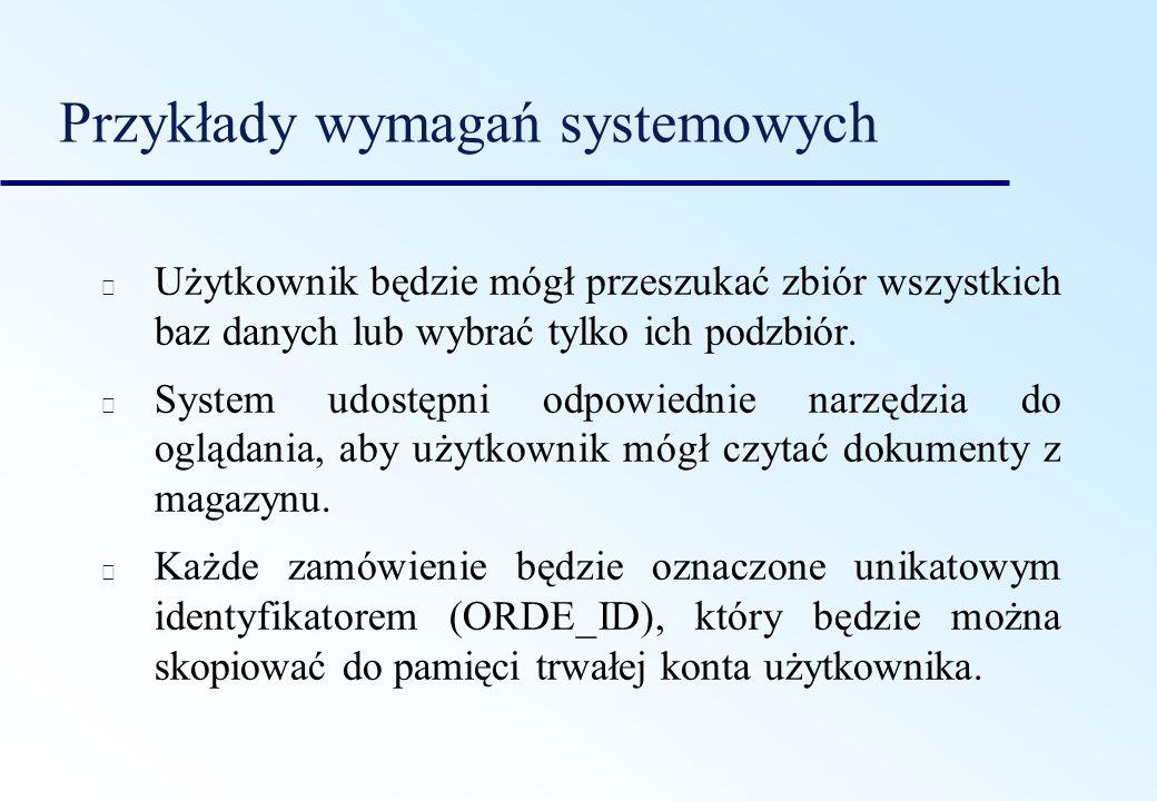 Przykłady wymagań systemowych Użytkownik będzie mógł przeszukać zbiór wszystkich baz danych lub wybrać tylko ich podzbiór. System udostępni odpowiedni