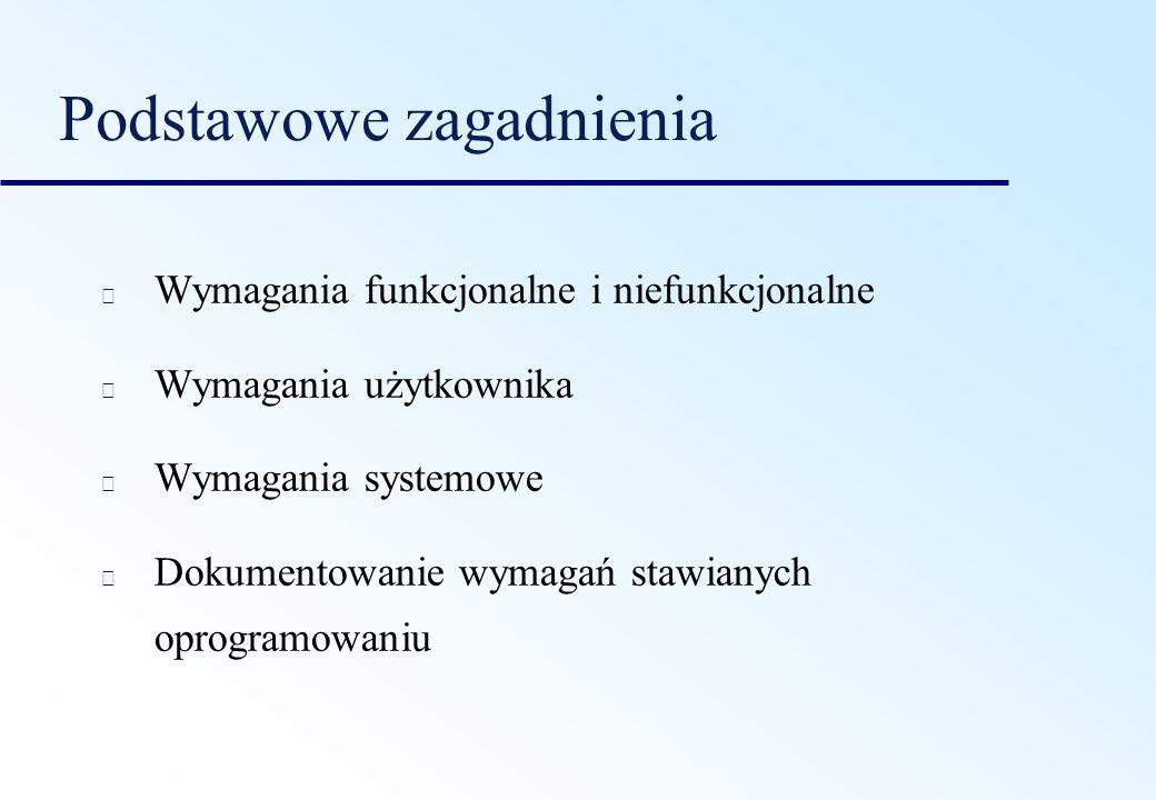 Podstawowe zagadnienia Wymagania funkcjonalne i niefunkcjonalne Wymagania użytkownika Wymagania systemowe Dokumentowanie wymagań stawianych oprogramow