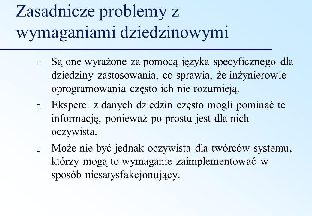 Zasadnicze problemy z wymaganiami dziedzinowymi Są one wyrażone za pomocą języka specyficznego dla dziedziny zastosowania, co sprawia, że inżynierowie