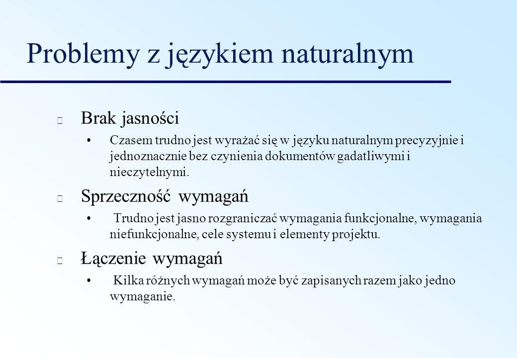 Problemy z językiem naturalnym Brak jasności Czasem trudno jest wyrażać się w języku naturalnym precyzyjnie i jednoznacznie bez czynienia dokumentów g