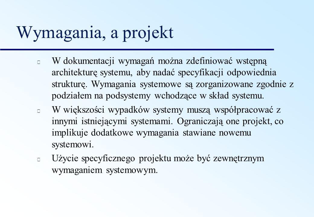Wymagania, a projekt W dokumentacji wymagań można zdefiniować wstępną architekturę systemu, aby nadać specyfikacji odpowiednia strukturę. Wymagania sy