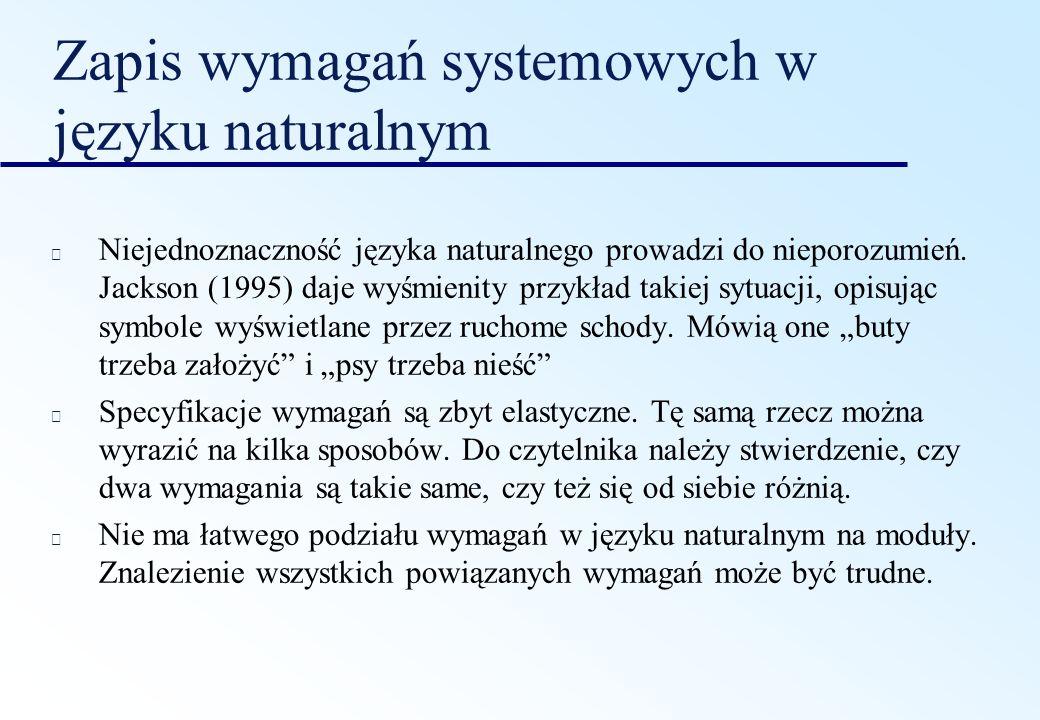 Zapis wymagań systemowych w języku naturalnym Niejednoznaczność języka naturalnego prowadzi do nieporozumień. Jackson (1995) daje wyśmienity przykład