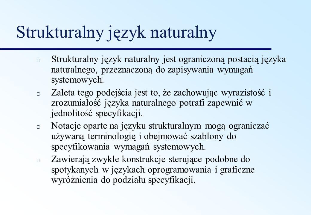 Strukturalny język naturalny Strukturalny język naturalny jest ograniczoną postacią języka naturalnego, przeznaczoną do zapisywania wymagań systemowyc