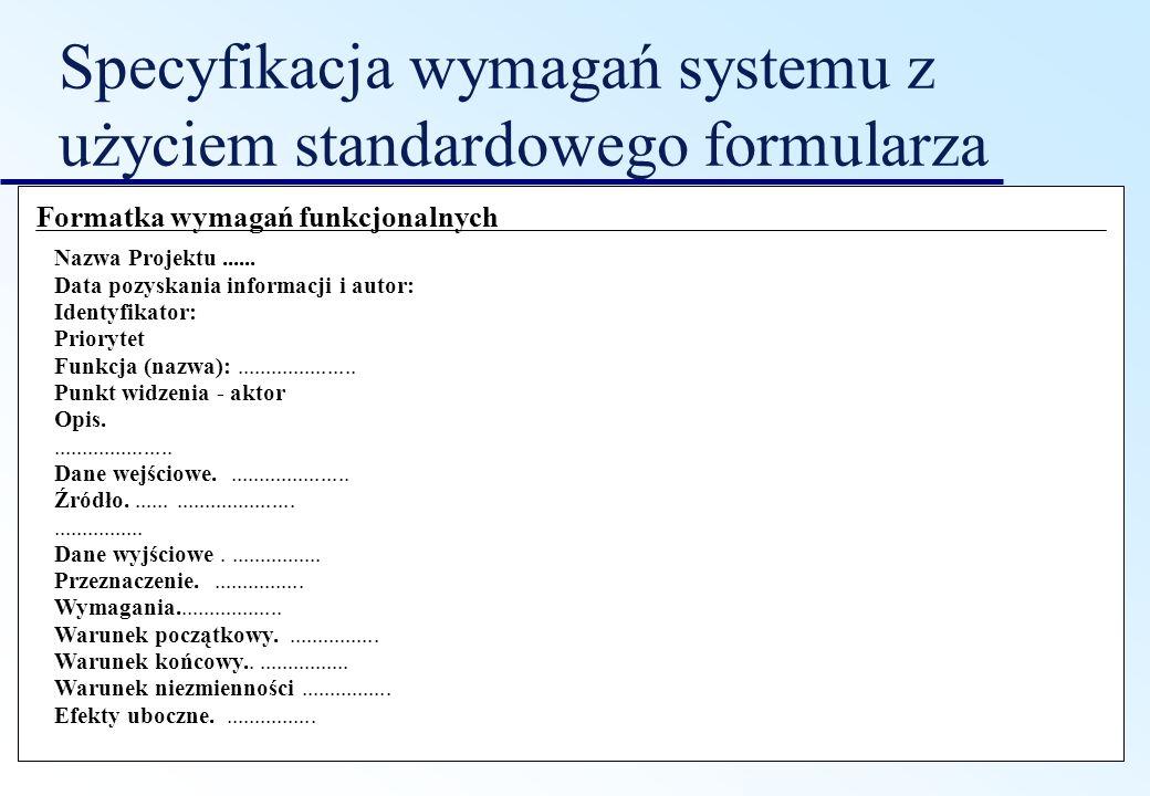 Specyfikacja wymagań systemu z użyciem standardowego formularza Formatka wymagań funkcjonalnych Nazwa Projektu...... Data pozyskania informacji i auto