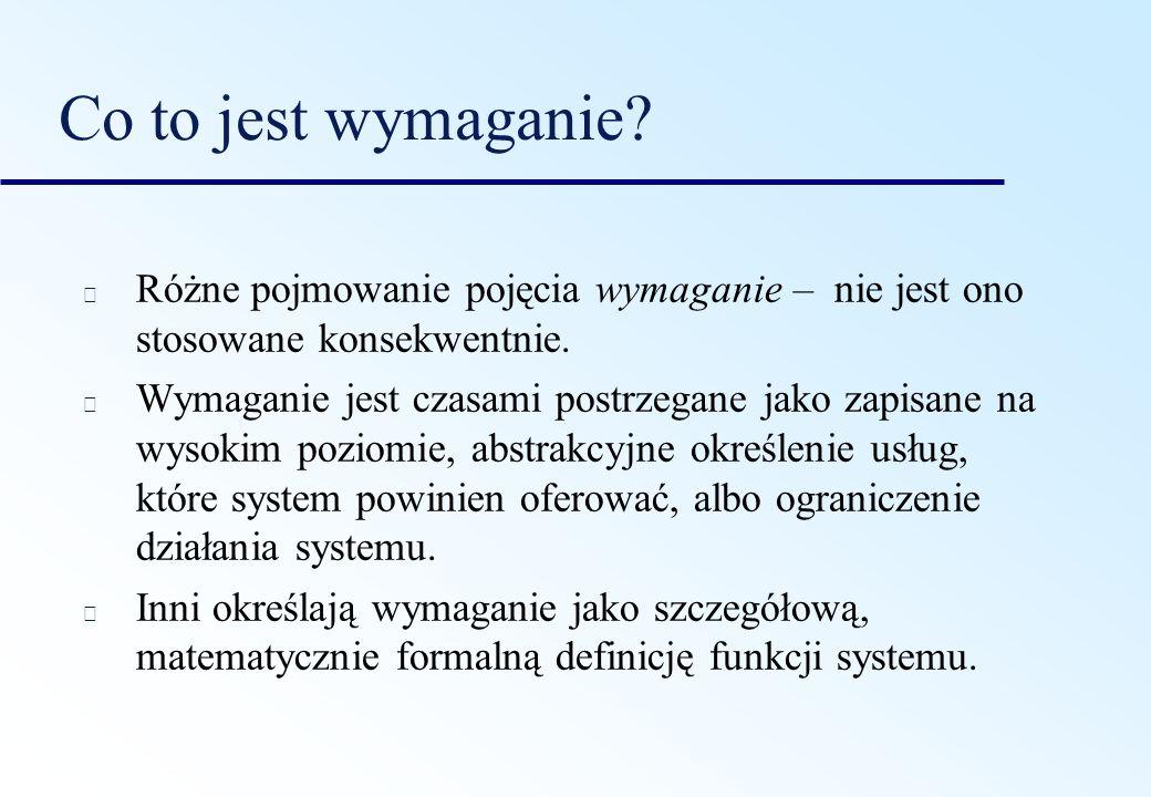 Typy wymagań Wymagania użytkownika wyrażenia w języku naturalnym oraz diagramy o usługach oczekiwanych od systemu oraz o ograniczeniach, w których system ma działać.