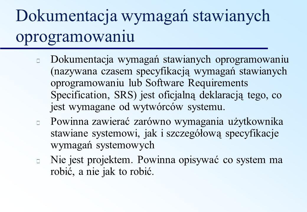 Dokumentacja wymagań stawianych oprogramowaniu Dokumentacja wymagań stawianych oprogramowaniu (nazywana czasem specyfikacją wymagań stawianych oprogra