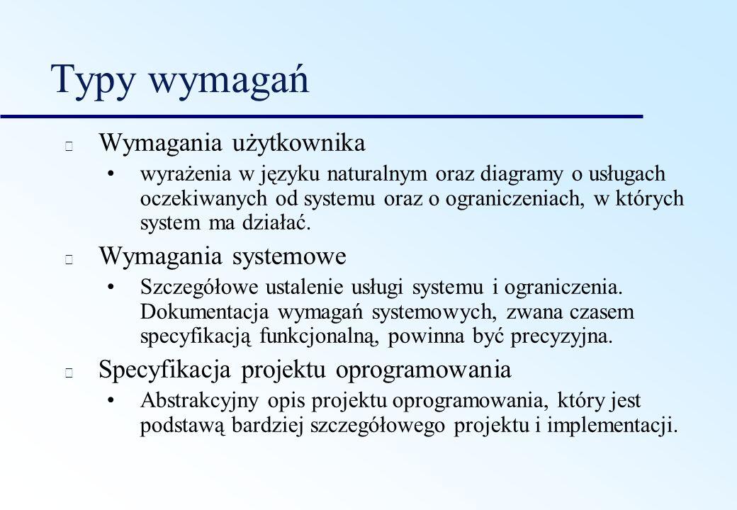 Typy wymagań Wymagania użytkownika wyrażenia w języku naturalnym oraz diagramy o usługach oczekiwanych od systemu oraz o ograniczeniach, w których sys