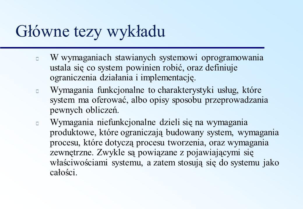 Główne tezy wykładu W wymaganiach stawianych systemowi oprogramowania ustala się co system powinien robić, oraz definiuje ograniczenia działania i imp
