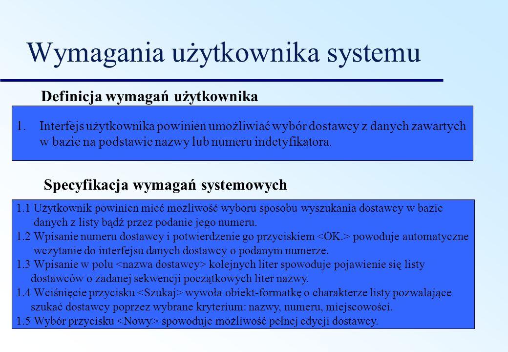 Przykłady Cel systemu System powinien być łatwy w użyciu dla doświadczonych kontrolerów, a sposób jego organizacji powinien zmniejszać liczbę błędów użytkownika.