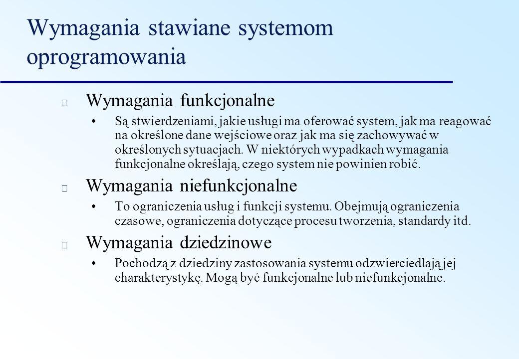 Wymagania stawiane systemom oprogramowania Wymagania funkcjonalne Są stwierdzeniami, jakie usługi ma oferować system, jak ma reagować na określone dan