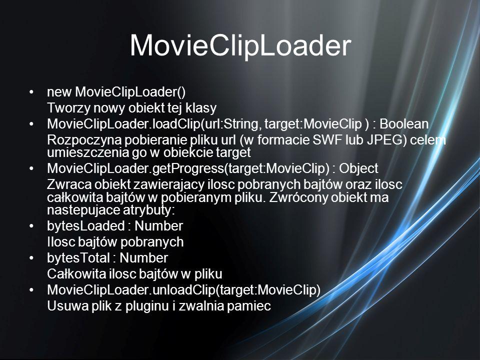 MovieClipLoader new MovieClipLoader() Tworzy nowy obiekt tej klasy MovieClipLoader.loadClip(url:String, target:MovieClip ) : Boolean Rozpoczyna pobier