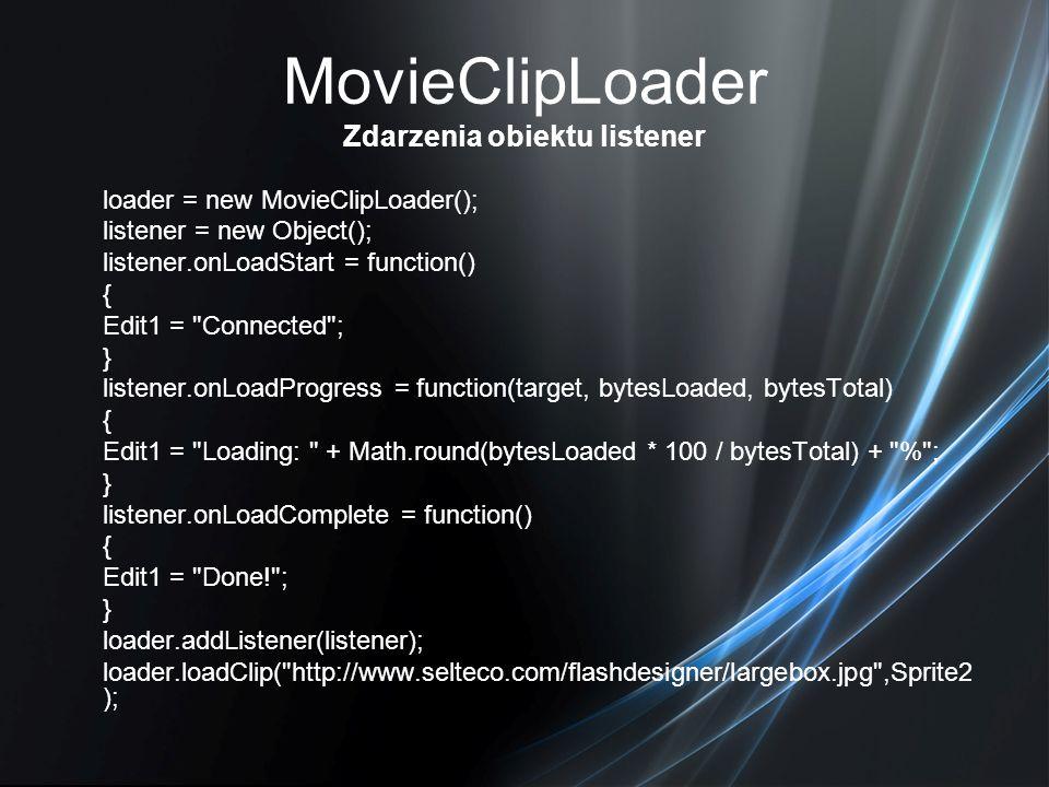 MovieClipLoader Zdarzenia obiektu listener loader = new MovieClipLoader(); listener = new Object(); listener.onLoadStart = function() { Edit1 =