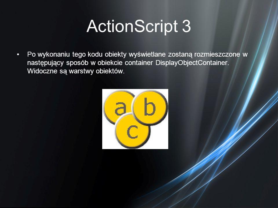 ActionScript 3 Po wykonaniu tego kodu obiekty wyświetlane zostaną rozmieszczone w następujący sposób w obiekcie container DisplayObjectContainer. Wido