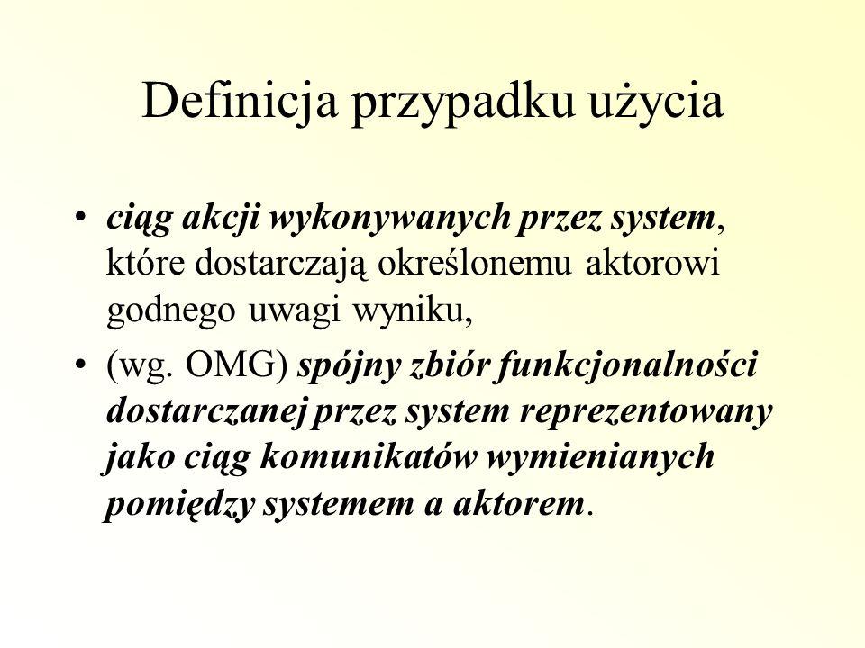 Definicja przypadku użycia ciąg akcji wykonywanych przez system, które dostarczają określonemu aktorowi godnego uwagi wyniku, (wg. OMG) spójny zbiór f