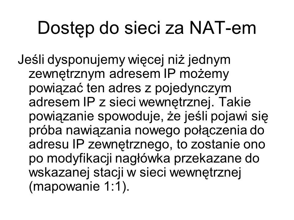 Dostęp do sieci za NAT-em Jeśli dysponujemy więcej niż jednym zewnętrznym adresem IP możemy powiązać ten adres z pojedynczym adresem IP z sieci wewnęt