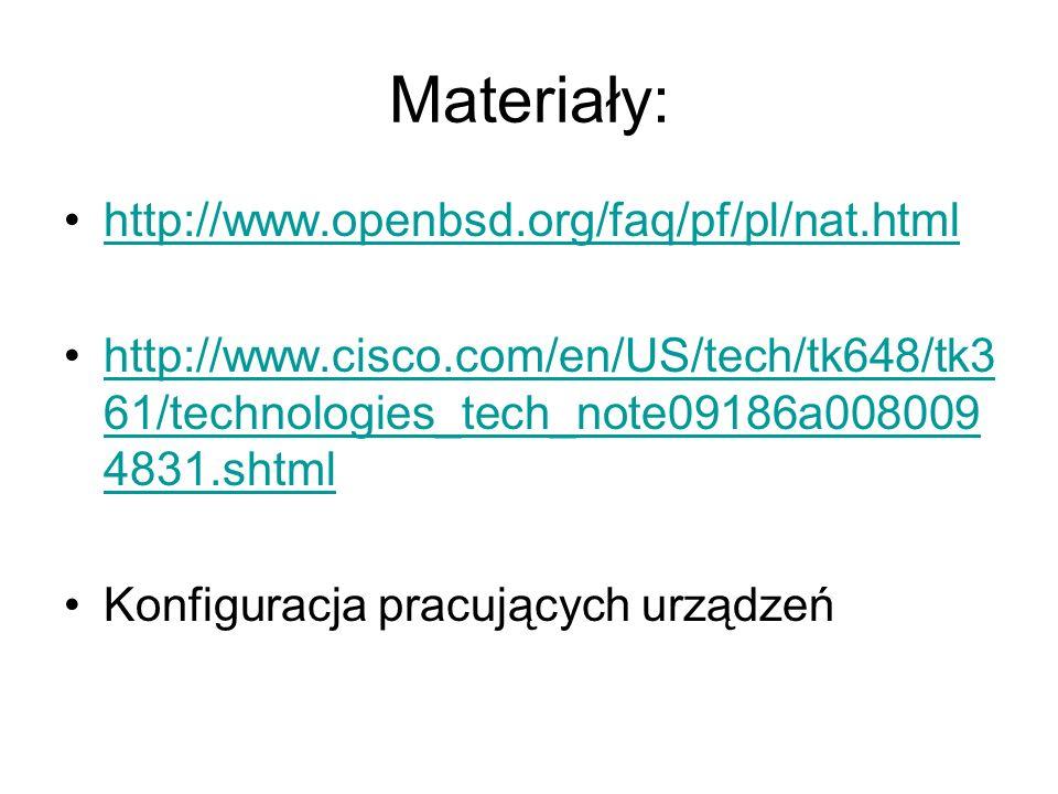Materiały: http://www.openbsd.org/faq/pf/pl/nat.html http://www.cisco.com/en/US/tech/tk648/tk3 61/technologies_tech_note09186a008009 4831.shtmlhttp://