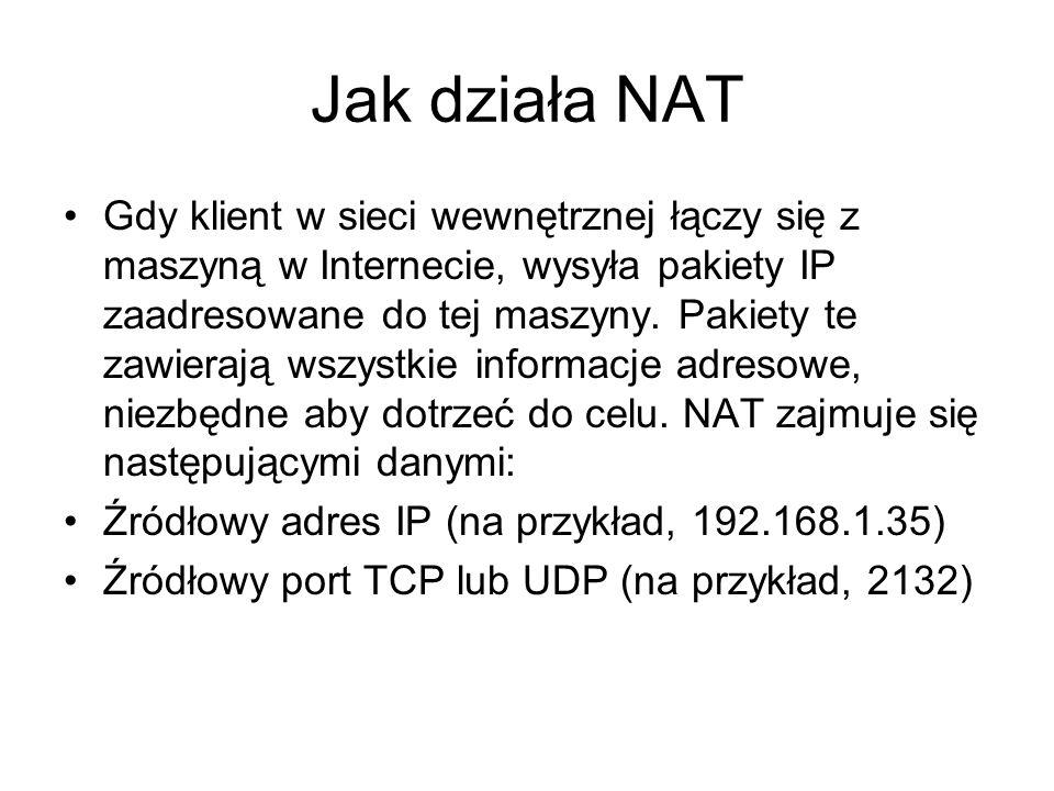 Jak działa NAT Gdy klient w sieci wewnętrznej łączy się z maszyną w Internecie, wysyła pakiety IP zaadresowane do tej maszyny. Pakiety te zawierają ws