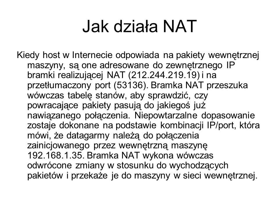 Jak działa NAT Kiedy host w Internecie odpowiada na pakiety wewnętrznej maszyny, są one adresowane do zewnętrznego IP bramki realizującej NAT (212.244