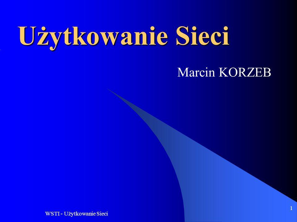 WSTI - Użytkowanie Sieci 1 Użytkowanie Sieci Marcin KORZEB