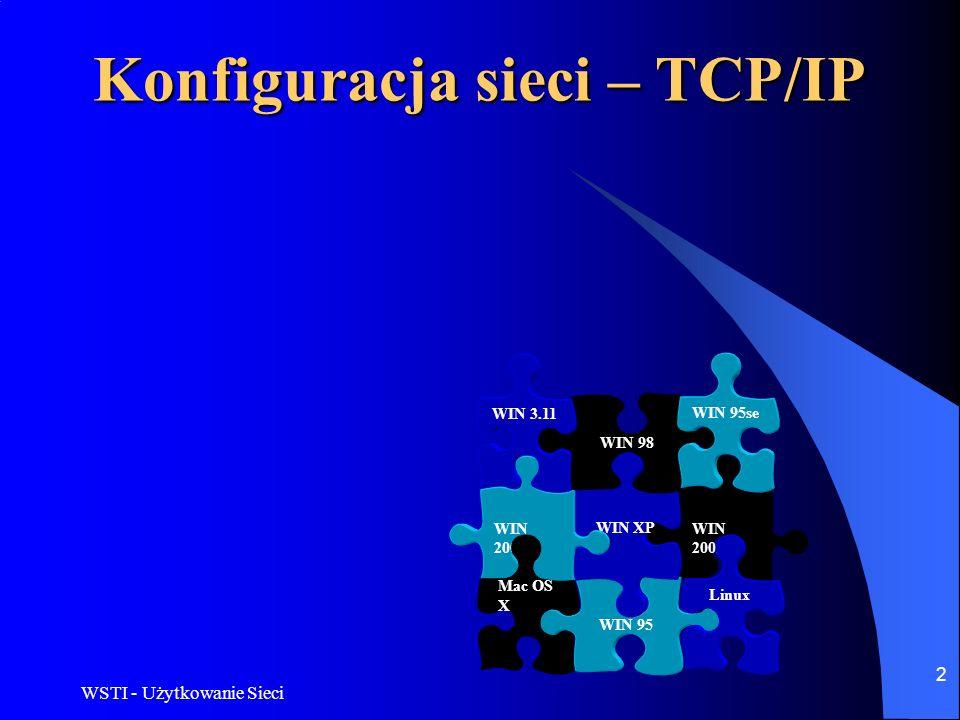 WSTI - Użytkowanie Sieci 2 WIN 2003 WIN 95 Linux WIN XP WIN 2000 Mac OS X WIN 98 WIN 95se WIN 3.11 Konfiguracja sieci – TCP/IP