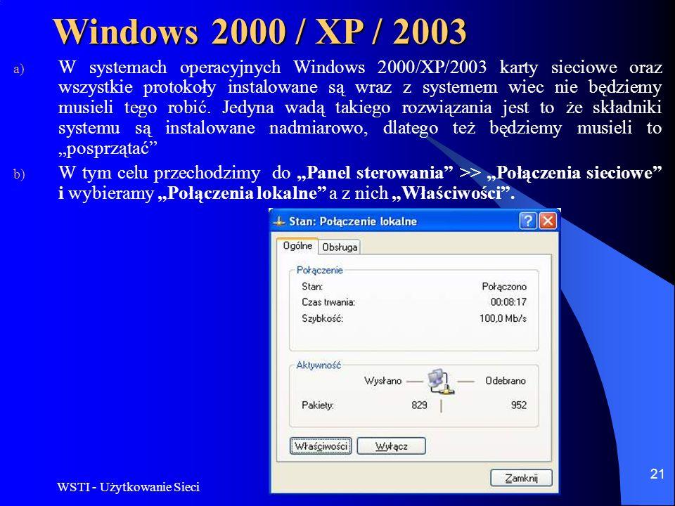 WSTI - Użytkowanie Sieci 21 Windows 2000 / XP / 2003 a) W systemach operacyjnych Windows 2000/XP/2003 karty sieciowe oraz wszystkie protokoły instalow