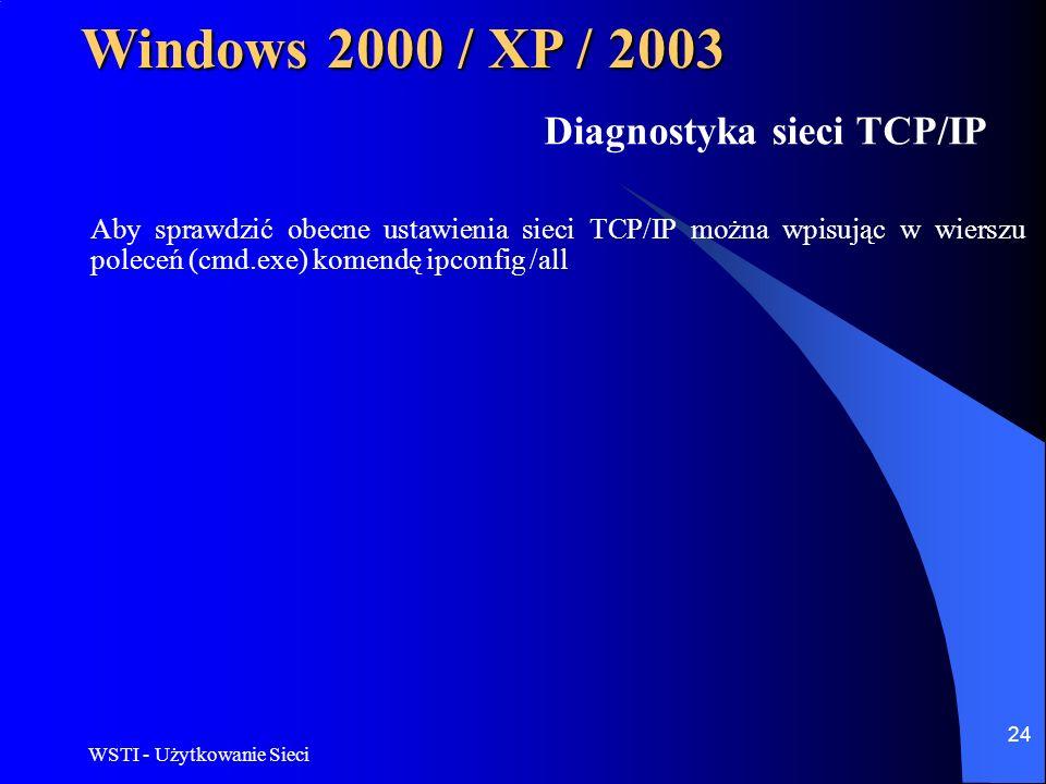 WSTI - Użytkowanie Sieci 24 Windows 2000 / XP / 2003 Diagnostyka sieci TCP/IP Aby sprawdzić obecne ustawienia sieci TCP/IP można wpisując w wierszu po
