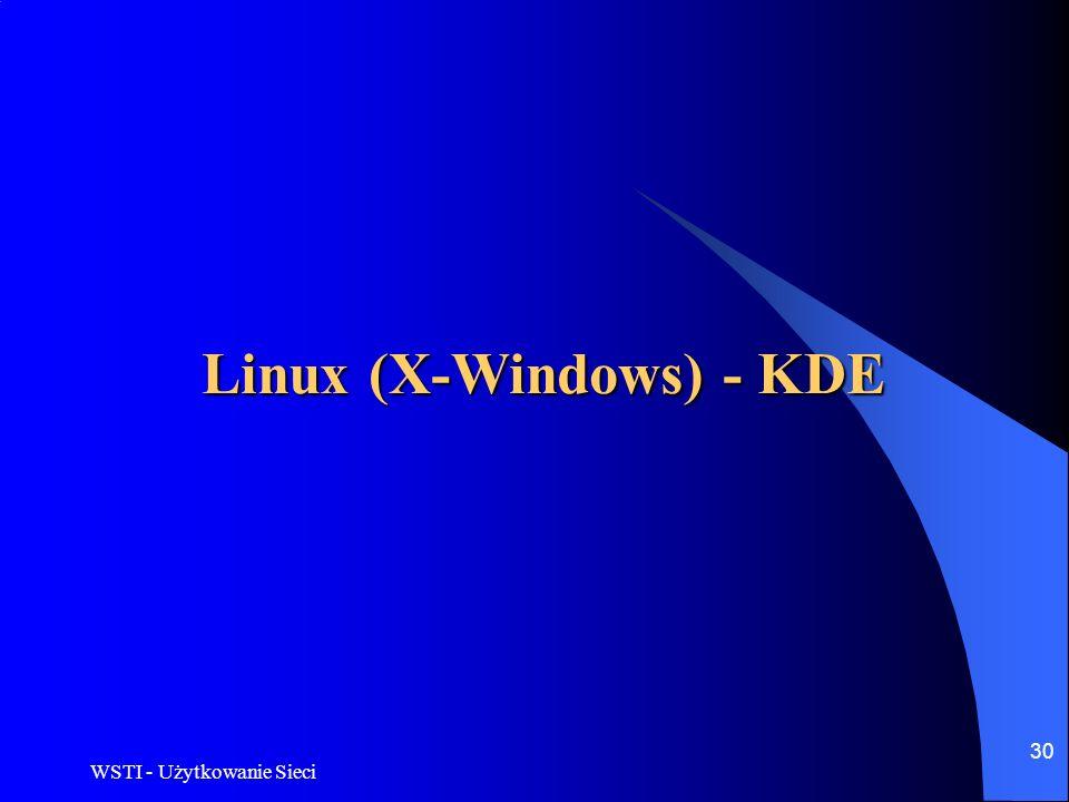 WSTI - Użytkowanie Sieci 30 Linux (X-Windows) - KDE