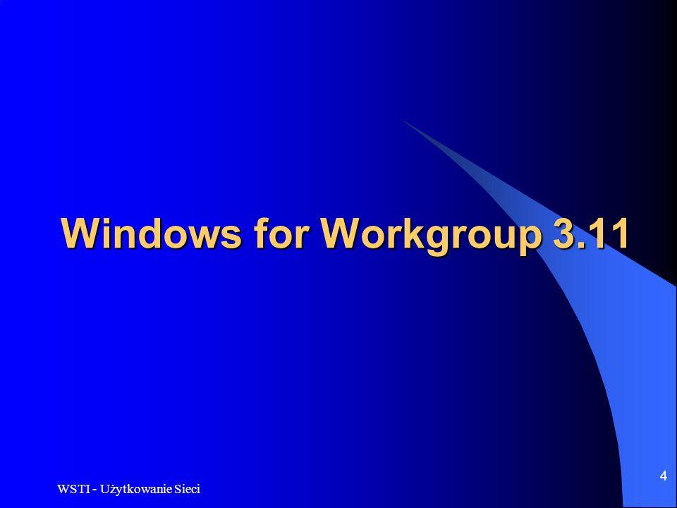 WSTI - Użytkowanie Sieci 4 Windows for Workgroup 3.11