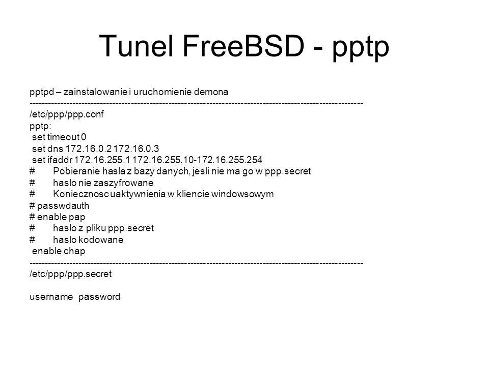 Tunel FreeBSD - pptp pptpd – zainstalowanie i uruchomienie demona ------------------------------------------------------------------------------------