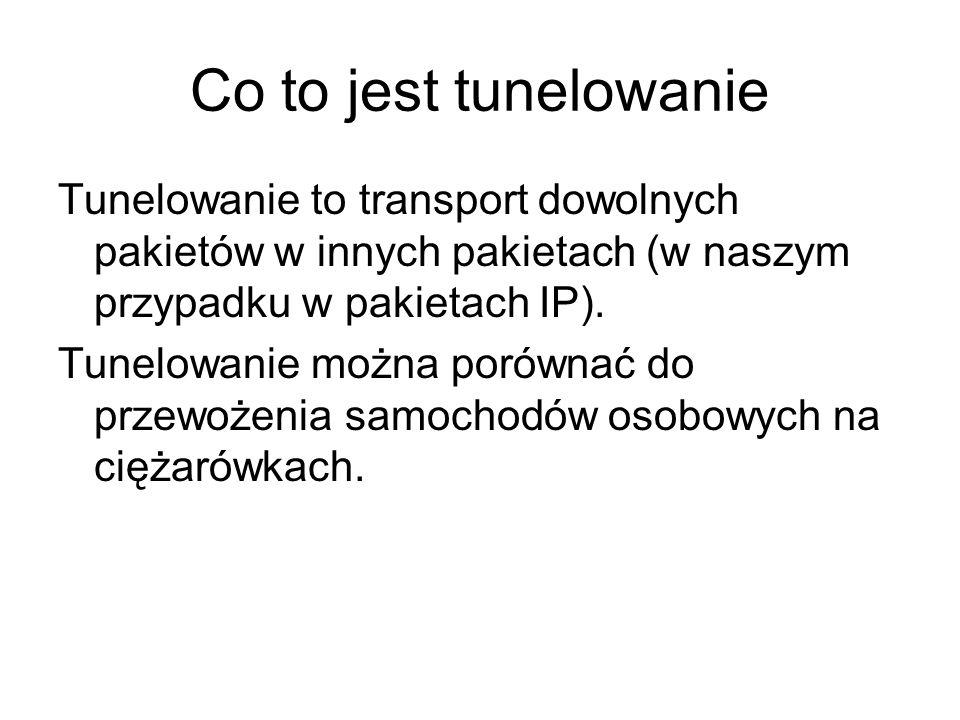 Co to jest tunelowanie Tunelowanie to transport dowolnych pakietów w innych pakietach (w naszym przypadku w pakietach IP). Tunelowanie można porównać