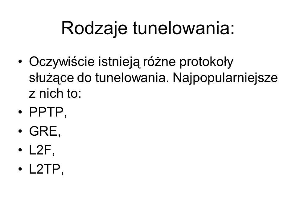 Rodzaje tunelowania: Oczywiście istnieją różne protokoły służące do tunelowania. Najpopularniejsze z nich to: PPTP, GRE, L2F, L2TP,