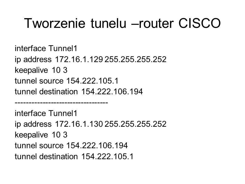 Tworzenie tunelu –router CISCO interface Tunnel1 ip address 172.16.1.129 255.255.255.252 keepalive 10 3 tunnel source 154.222.105.1 tunnel destination