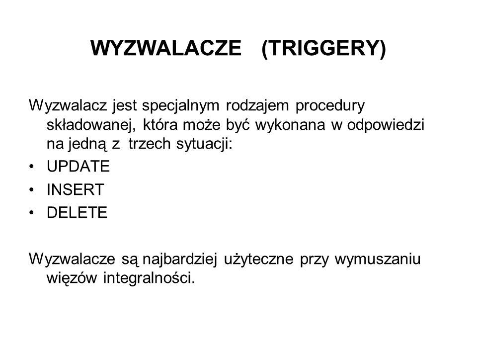ALTER TRIGGER NOWA_POZYCJA BEFORE INSERT ORDER 1 ON DBA . POZYCJA REFERENCING NEW AS NOWA_POZ FOR EACH ROW BEGIN SET NOWA_POZ.WARTOSC_POZ=NOWA_POZ.ILOSC* (SELECT CENA_NETTO * ( 1 + VAT + MARZA )) FROM TOWAR WHERE KOD_T=NOWA_POZ.KOD_T); UPDATE TOWAR SET POSIADANA_ILOSC = POSIADANA_ILOSC – NOWA_POZ.ILOSC WHERE KOD_T=NOWA_POZ.KOD_T; IF (SELECT WARTOSC FROM FAKTURA WHERE NR_FAKTURY=NOWA_POZ.NR_FAKTURY) IS NULL THEN UPDATE FAKTURA SET WARTOSC=NOWA_POZ.WARTOSC_POZ WHERE NR_FAKTURY=NOWA_POZ.NR_FAKTURY; ELSE UPDATE FAKTURA SET WARTOSC=WARTOSC+ NOWA_POZ.WARTOSC_POZ WHERE NR_FAKTURY=NOWA_POZ.NR_FAKTURY END IF; MESSAGE Zaktualizowano stan towaru na magazynie i wartosc faktury type action to client; END;