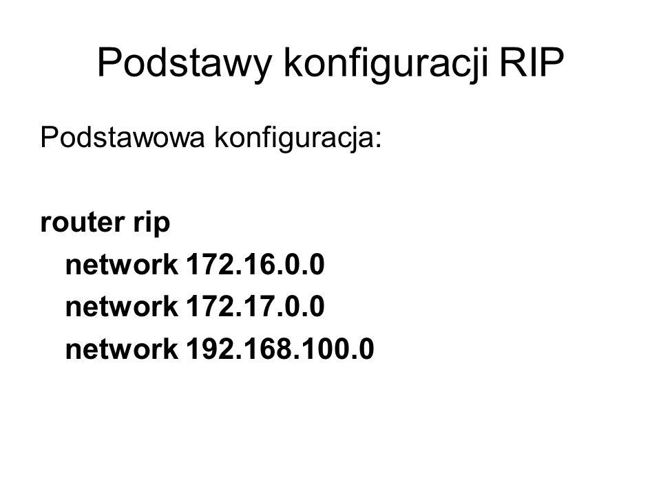 Podstawy konfiguracji RIP Podstawowa konfiguracja: router rip network 172.16.0.0 network 172.17.0.0 network 192.168.100.0