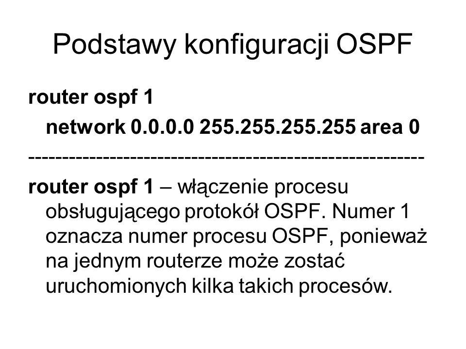 Podstawy konfiguracji OSPF router ospf 1 network 0.0.0.0 255.255.255.255 area 0 ---------------------------------------------------------- router ospf