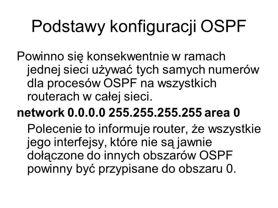 Podstawy konfiguracji OSPF Powinno się konsekwentnie w ramach jednej sieci używać tych samych numerów dla procesów OSPF na wszystkich routerach w całe