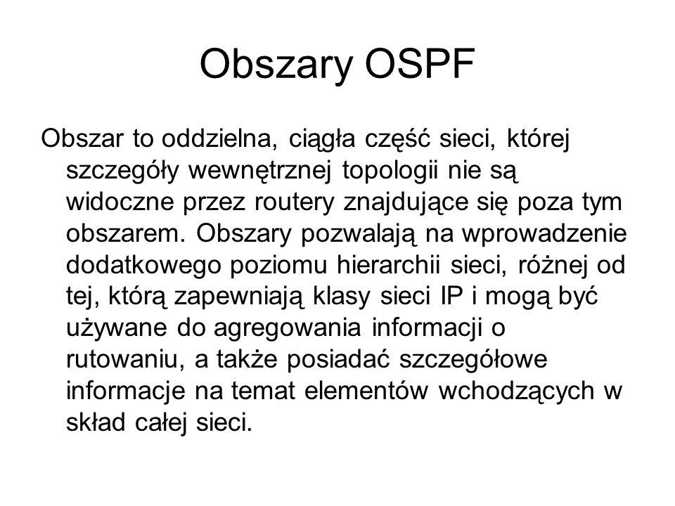 Obszary OSPF Obszar to oddzielna, ciągła część sieci, której szczegóły wewnętrznej topologii nie są widoczne przez routery znajdujące się poza tym obs