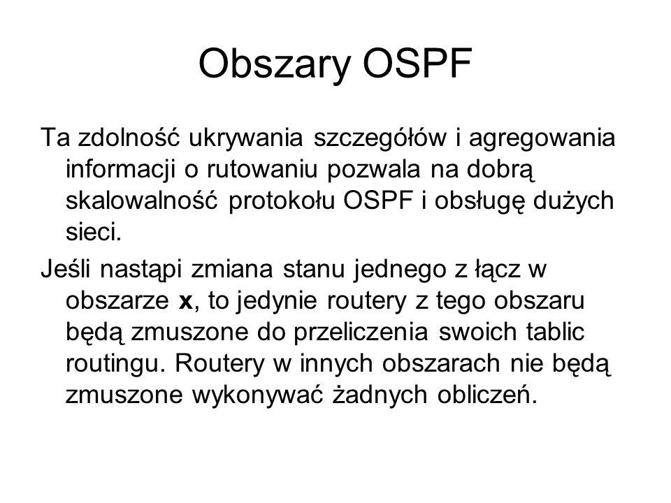 Obszary OSPF Ta zdolność ukrywania szczegółów i agregowania informacji o rutowaniu pozwala na dobrą skalowalność protokołu OSPF i obsługę dużych sieci