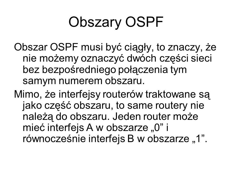 Obszary OSPF Obszar OSPF musi być ciągły, to znaczy, że nie możemy oznaczyć dwóch części sieci bez bezpośredniego połączenia tym samym numerem obszaru