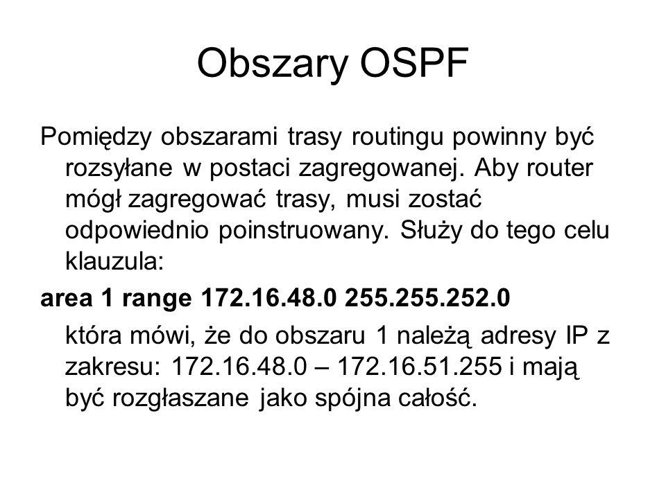 Obszary OSPF Pomiędzy obszarami trasy routingu powinny być rozsyłane w postaci zagregowanej. Aby router mógł zagregować trasy, musi zostać odpowiednio