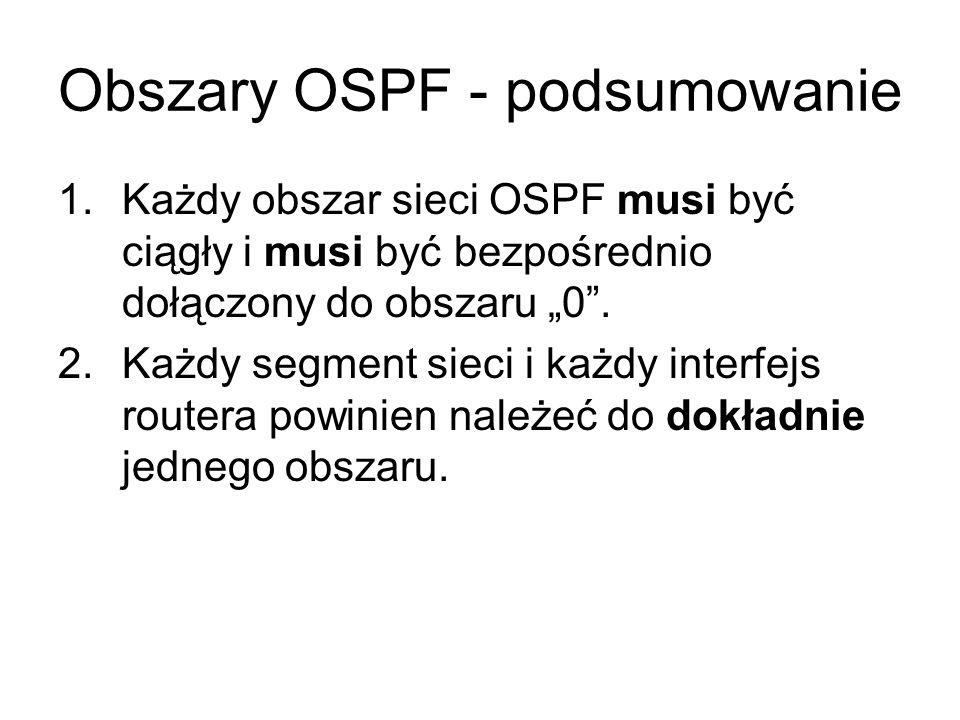 Obszary OSPF - podsumowanie 1.Każdy obszar sieci OSPF musi być ciągły i musi być bezpośrednio dołączony do obszaru 0. 2.Każdy segment sieci i każdy in