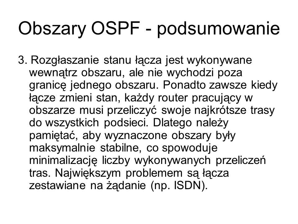 Obszary OSPF - podsumowanie 3. Rozgłaszanie stanu łącza jest wykonywane wewnątrz obszaru, ale nie wychodzi poza granicę jednego obszaru. Ponadto zawsz