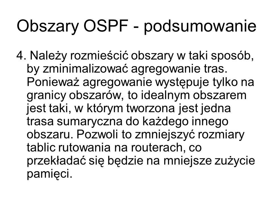 Obszary OSPF - podsumowanie 4. Należy rozmieścić obszary w taki sposób, by zminimalizować agregowanie tras. Ponieważ agregowanie występuje tylko na gr