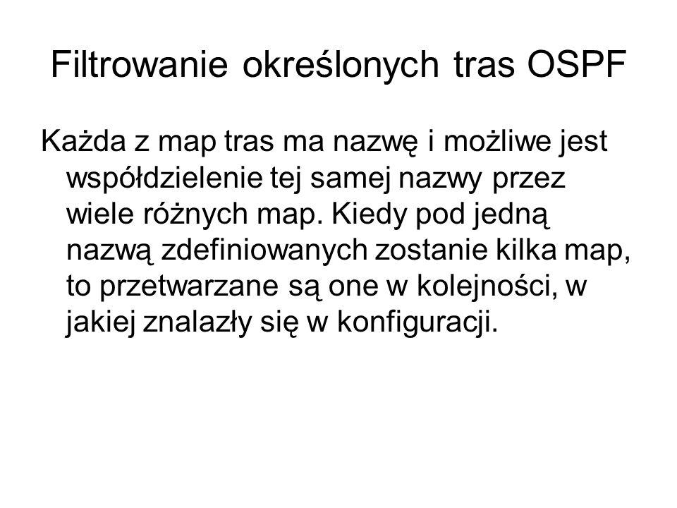 Filtrowanie określonych tras OSPF Każda z map tras ma nazwę i możliwe jest współdzielenie tej samej nazwy przez wiele różnych map. Kiedy pod jedną naz