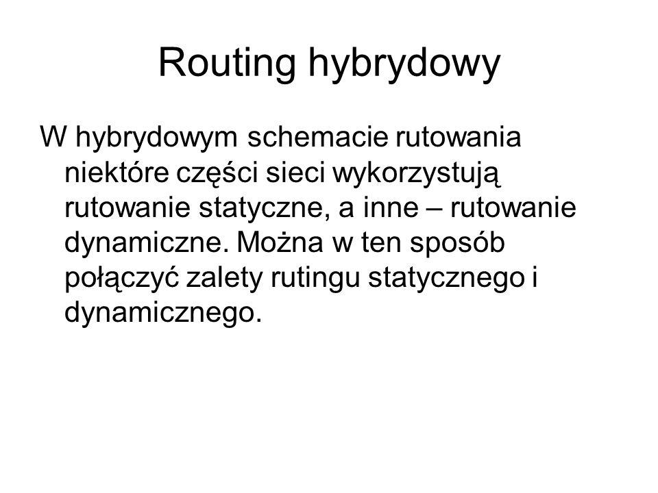 Routing hybrydowy W hybrydowym schemacie rutowania niektóre części sieci wykorzystują rutowanie statyczne, a inne – rutowanie dynamiczne. Można w ten