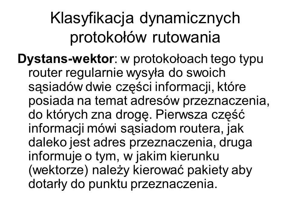 Klasyfikacja dynamicznych protokołów rutowania Dystans-wektor: w protokołoach tego typu router regularnie wysyła do swoich sąsiadów dwie części inform