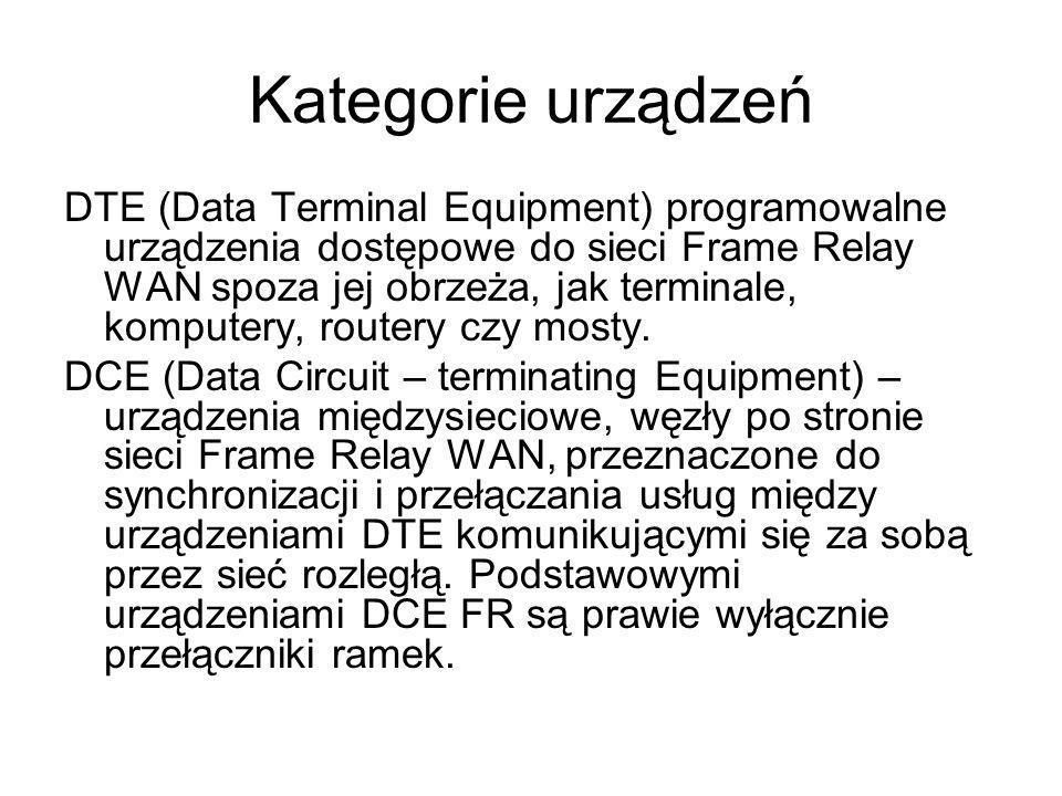 Kategorie urządzeń DTE (Data Terminal Equipment) programowalne urządzenia dostępowe do sieci Frame Relay WAN spoza jej obrzeża, jak terminale, kompute