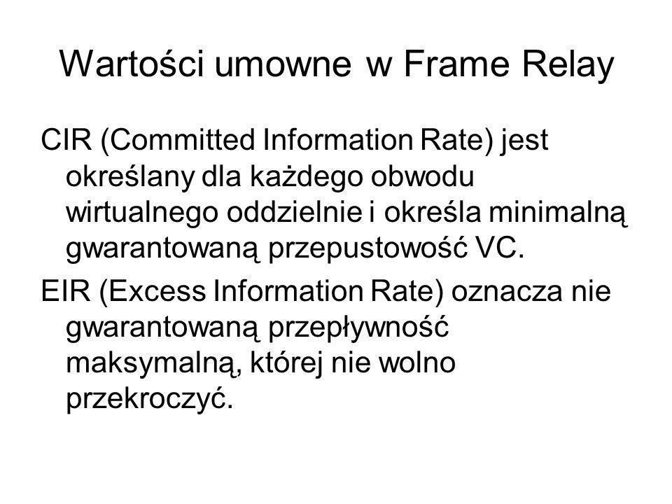 Wartości umowne w Frame Relay CIR (Committed Information Rate) jest określany dla każdego obwodu wirtualnego oddzielnie i określa minimalną gwarantowa